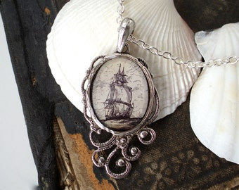 High Seas - Pirate Ship Necklace - Antique Nautical Print Pendant in Silver - Pirate Jewelry