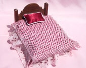 Dollhouse Coverlet Miniature Handwoven Coverlet Ruby Red Periwinkle Coverlet 12th Scale Dollhouse Bedding Small Doll Blanket Red Coverlet