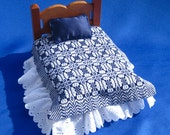 Blue Dollhouse Coverlet Miniature Whig Rose Coverlet 12th Scale Dollhouse Bedding Miniature Bedding Hand Woven Coverlet Dollhouse Blanket