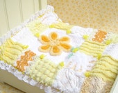 "Doll Quilt Yellow Doll Quilt Chenille Patchwork Doll Quilt 10"" Doll Blanket Small Doll Blanket Yellow Chenille Quilt Yellow Small Doll Quilt"