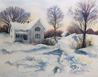 Watercolor ORIGINAL - Winter Blues - winter, snow, house, January, white, cold
