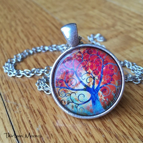 Whimsical Rainbow Tree of Life Vintage Inspired Glass Cabochon Art Pendant Necklace