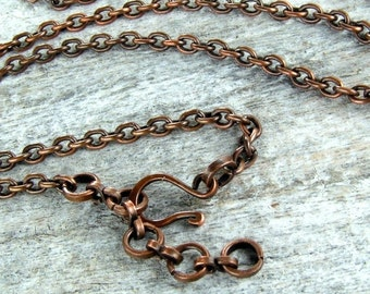 SUMMER SALE Solid Copper Chain with Handmade Clasp for Your Pendant 24inch
