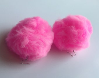 BIG Pom Pom Cotton Candy Earrings