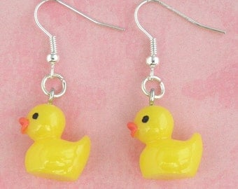 Yellow Toy Duck Duckling Earrings - Vintage Inspired - Retro Kitsch 50s Jewellery - Easter Gift - Rubber Duck Earrings - Kawaii Jewelry