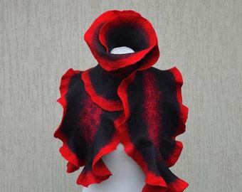 Red black nuno felted scarf. Silk felt scarf