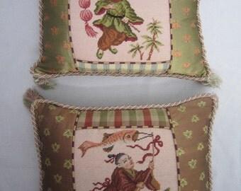 Chinoiserie Needlepoint Pillows, Pair