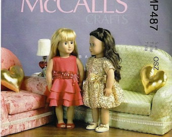 """McCALLS M6853/MP4873- Formal Dresses, Furniture and Pillows for 18"""" Doll  Uncut Factory Folded"""