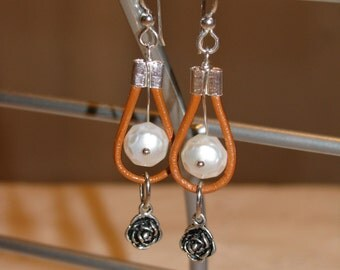 OOAK Tan Leather, faceted freshwater pearl and sterling silver flower earrings