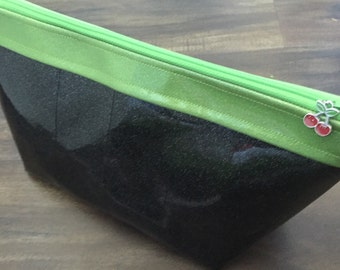 Sparkle Vinyl Makeup Bag (Black/Lime)