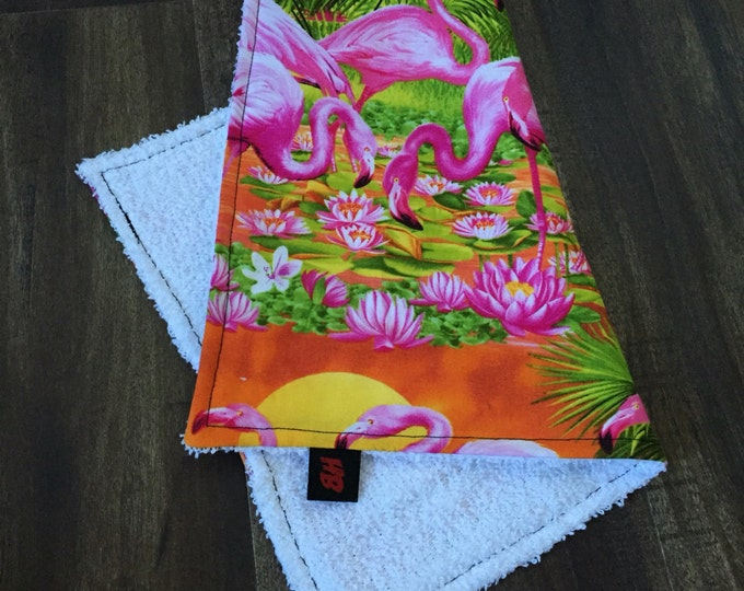 Sweat Rag/Face Cloth/Face Towel in a tropical flamingo sunset fabric
