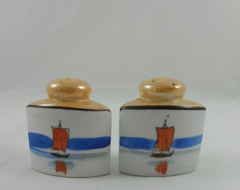 Vintage Hand Painted Lusterware Sailboat Salt & Pepper