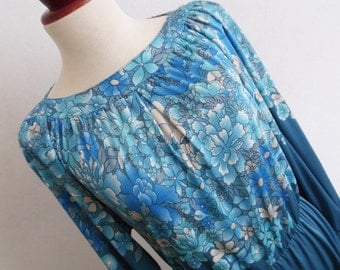 SALE :)))) MAC TAC Paris . Blue Mist . Beautiful Art Nouveau Print Midi Dress 70s French Rare M