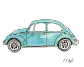 Little Blue Bug, Fine Art Giclee Print, 5x7, Volkswagen, vintage, car, watercolor painting, watercolor car, teal, car illustration