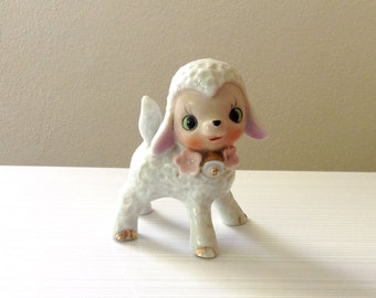 Vintage Lamb Figurine - Nursery Decor - Baby Sheep