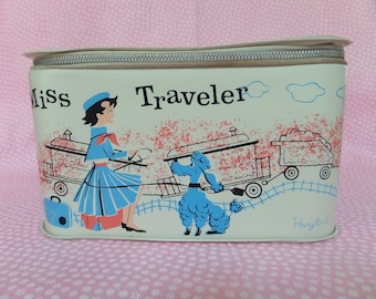 Vintage Ponytail Miss Traveler Case -- Carrying Case With Poodle -- 1960's