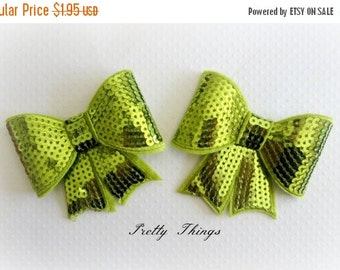 ON SALE Lime Sequin Bows. Set of 2. Large Sequin Bows.