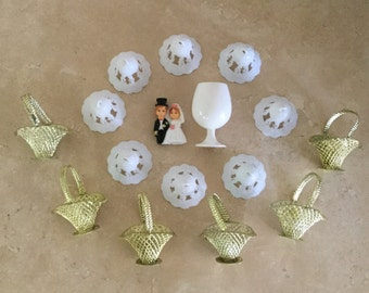 Half Price Sale.  Vintage Miniature Wedding Cake Topper and Wedding Decorating Assortment / Bells, Baskets and a Mini Wine Goblet