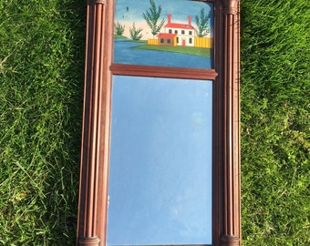 Antique Federal Mirror Reversed Painted..Victorian Vintage Rustic Country Historical Cottage Chic Folk Art Vanity Looking Glass Wall Hanging