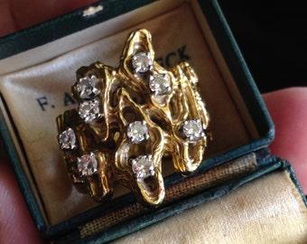Vintage Modernist Diamond and 14K YG Ring