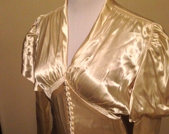 Glamorous 1930s Liquid Satin Wedding Gown