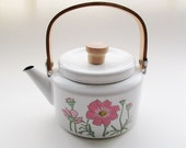 Vintage Enamel Teapot, Cottage Chic, Retro Kitchen Decor