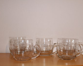 Vintage cut glass custard/dessert cups x4