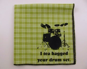 Hankie-STEP BROTHERS shown on super soft lime green plaid cotton hanky-or choose from white or any solid colors or plaids shown in last pic