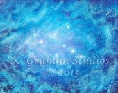 """8x10 Art Print of Original Painting by K. Graham """"THE SISTERS"""" Space Art The Pleiades Stars Blue Nebula Cosmic Art Spacescape"""