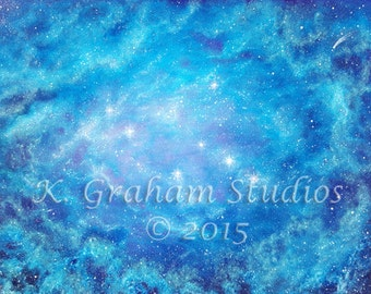 "8x10 Art Print of Original Painting by K. Graham ""THE SISTERS"" Space Art The Pleiades Stars Blue Nebula Cosmic Art Spacescape"
