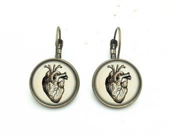 1 pair of 16mm Handmade Heart Glass Cabochon French Earwire Earrings