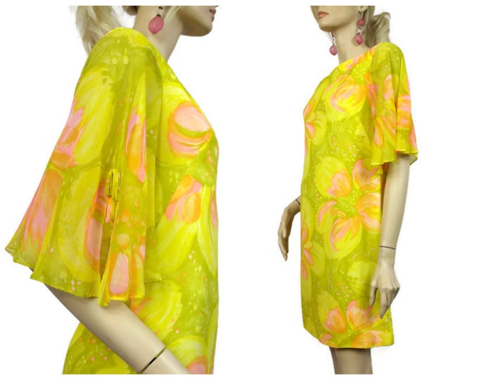 1960's Yellow, Pink and Green Floral Silk Organza Summer Dress - Abstract Flower Mod Mini Dress - Flowing Sleeve Party Dress - Size 6