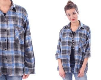 Plaid Distressed Flannel Shirt 80s Grunge Cotton Jacket Button Up SUN WASHED Blue Black Grey Vintage Women Men Oversized Large to XL