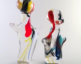 Handmade Glass Art Sculptures, Glass Dance Figurines, Unique Gift Idea Orange Blue Yellow Red