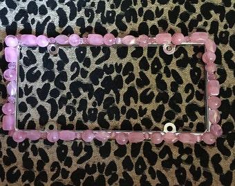 Bling License Plate Frame Pink Cat Eye Chunky Beaded #456190030