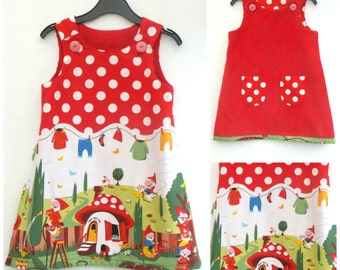 Girls Gnome Dress, Girls Dress, Reversible Dress, A line, Pinafore, Pinny, Jumper. Red Dress, Party Dress, Party Outfit,  Size 4-5yrs