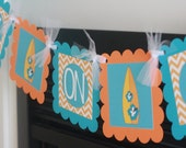 """Hawaiian Surfer Surf Board """"Baby on Board"""" Turquoise Blue Orange Chevron Baby Shower """"Baby on Board"""" Banner - Party Packages Available"""