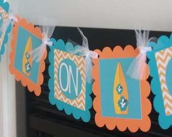 "Hawaiian Surfer Surf Board ""Baby on Board"" Turquoise Blue Orange Chevron Baby Shower ""Baby on Board"" Banner - Party Packages Available"