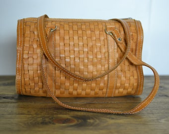 Vintage Boho Medium Woven Leather Satchel Bag - Tan