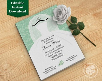 Mint Bridal Shower Invitation Template, Wedding Shower Invitations - Dress on Hanger Mint