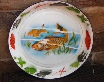 Large vintage enamel fish platter