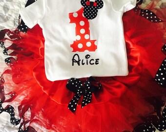 SALE! Disney World Red Dot Mickey Disney Girl Birthday Outfit Tutu Shirt First Second Third Sewn
