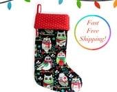 Large Christmas Stocking, Holiday Stocking, Xmas Stocking, Unique Christmas Stockings, Handmade Christmas Stocking For Kids - Cute Owls