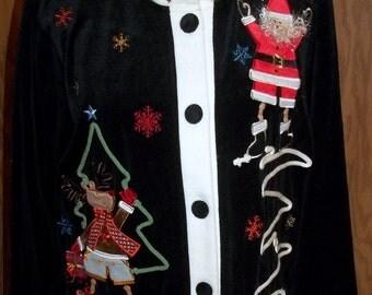 40% Off, Vintage, Holiday Jacket, Velour Jacket, Santa, Holiday wear, Ladies Jacket, Petite Medium