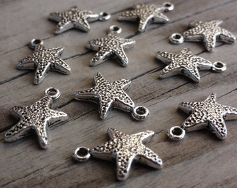 Metal Starfish Charms - 12x12mm - Single-Sided - Antiqued Silver-plated - Pendant - Star - Small - Tiny