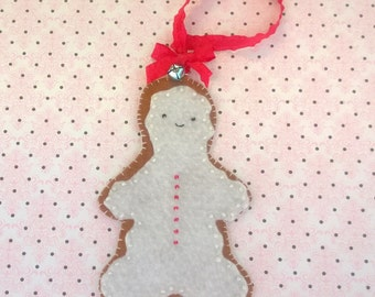 Kawaii Gingerbread Man Plush Ornament Doll Brown Cloth Plushie Soft Softie Cute Ooak Gift Holiday Christmas Photo Prop