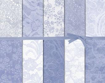 Digital Paper Vintage, Lace Digital Paper, Distressed Digital Paper, Blue Lace Digital Paper, Blue and White Digital Paper, #15140