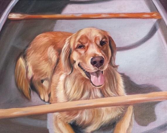Custom PET PORTRAIT - Dog Portrait - Oil Painting - Golden Retriever - 8x10