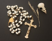 Vintage Classic Rosary - Five Decade Rosary - White Glass Prayer Beads - Brass Crucifix Cross