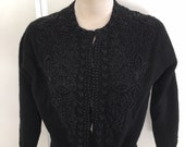 Vintage black beaded cardigan sweater
